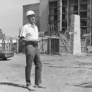 man looking over the construction of The Garland Hotel in North Hollywood