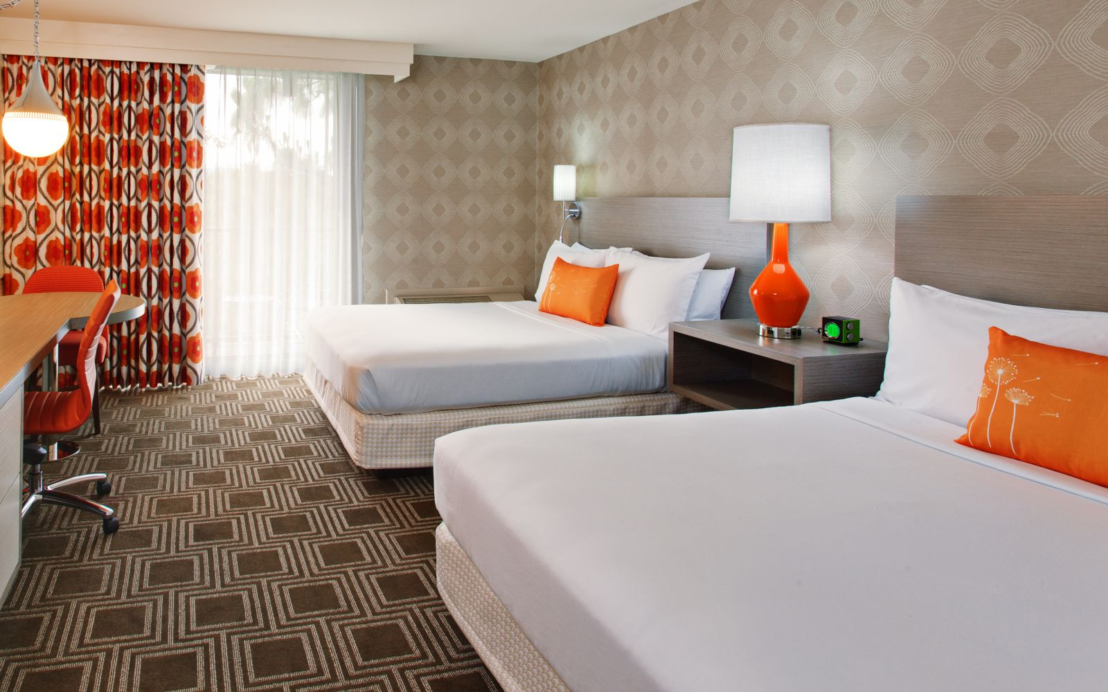 Two queen bed guestrooms at The Garland Hotel in CA