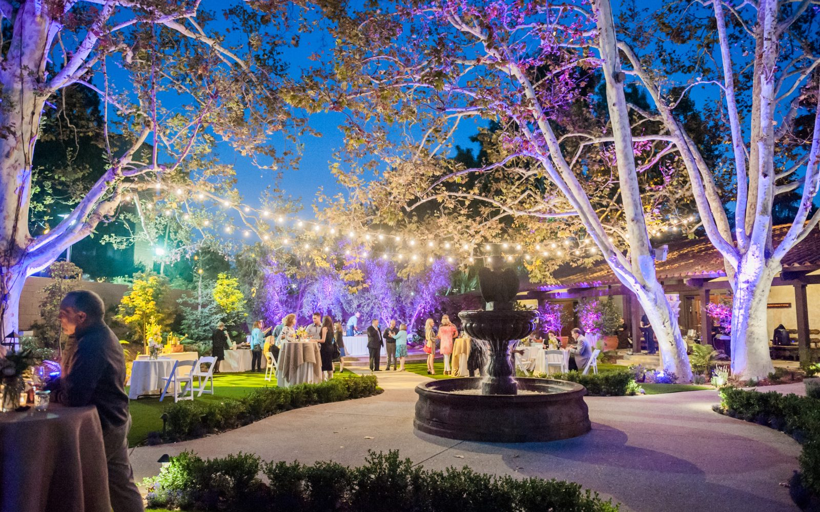 Outdoor wedding reception at The Garland Hotel In Los Angeles CA