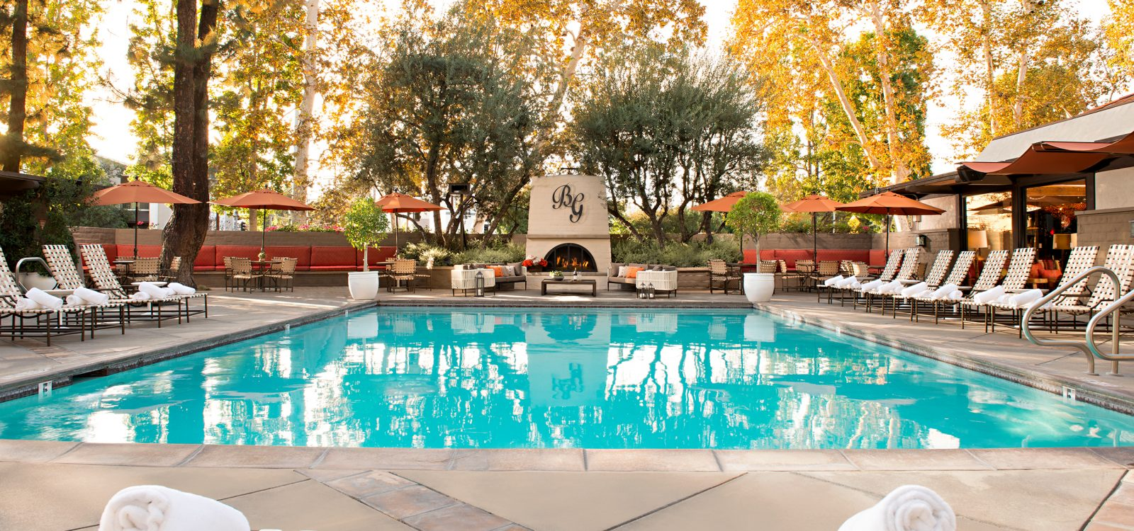 outdoor pool area at The Garland Hotel in CA