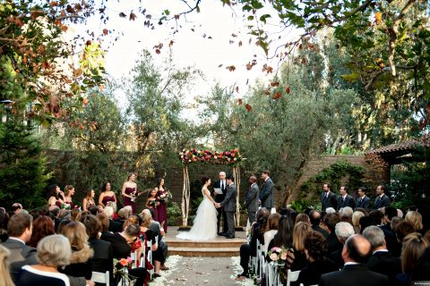 wedding ceremony held outdoors at The Garland Hotel in North Hollywood, CA