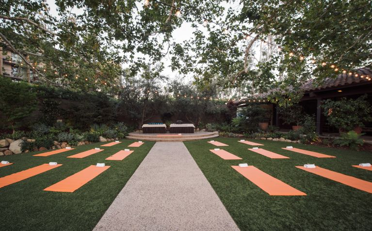outdoor yoga events at The Garland Hotel in North Hollywood